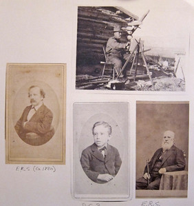 Top right, DeCost Smith painting in the West.  Bottom middle, Smith as a child.  Right and left, his father, also an artist.