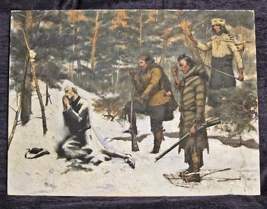 A Frozen Jesuit Discovered.  Oil on canvas.  18 x 24.  Unframed.  (The observers are a French-Canadian voyageur and two Indian guides.)