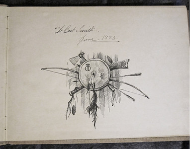 Cover page of Smith's sketchbook while he was in France, 1883.  He painted a number of Native Americans visiting Europe in various troupes in his Paris studio that year.