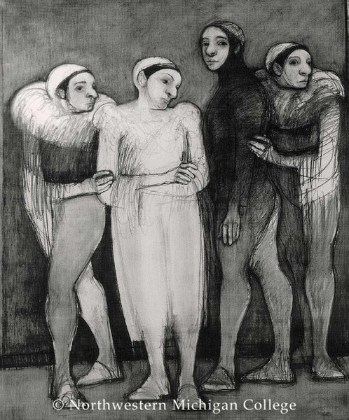 Trieff, Selina <br /> Preparation     1990<br /> Charcoal on paper<br /> Gift of the artist<br /> 2005.016.002