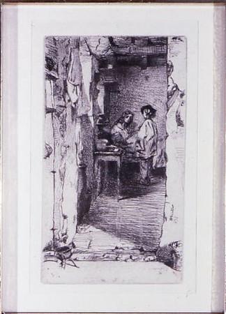 Whistler, James McNeil <br /> Little Rag Gatherer     n.d.<br /> Etching<br /> Gift of Robert Jorgensen<br /> 1991.008.023