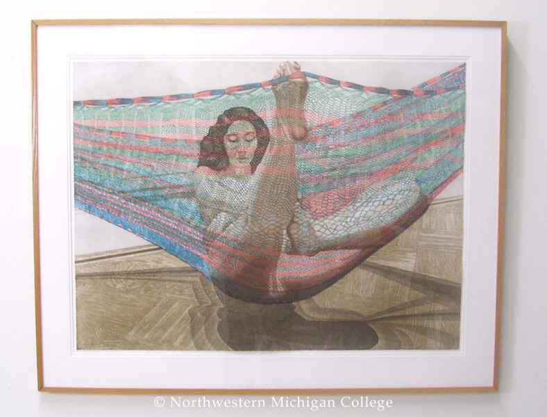 Pearlstein, Philip <br /> Nude in Hammock     1982<br /> Etching, aquatint, and roulette<br /> Museum Purchase 2000/01<br /> 2000.002.001