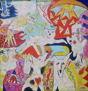 Watia, Tarmo <br /> Crazy Dogs     nd<br /> Acrylic on canvas<br /> Gift of the artist<br /> 2006.011.001