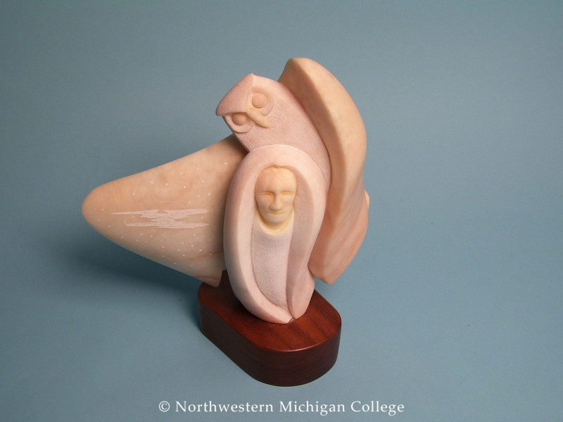 Mena, Jr., Daniel <br /> Night Owl     1988<br /> Alabaster with wood base<br /> Gift of Dr. William Cross and Jo Weth<br /> 1991.013.002