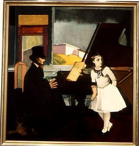 Wald, Carol <br /> The Music Lesson     circa 1988<br /> Oil on canvas<br /> Museum Purchase with funds from Michael and Barbara Dennos and the Sara Lee Corporation<br /> 1991.024.001