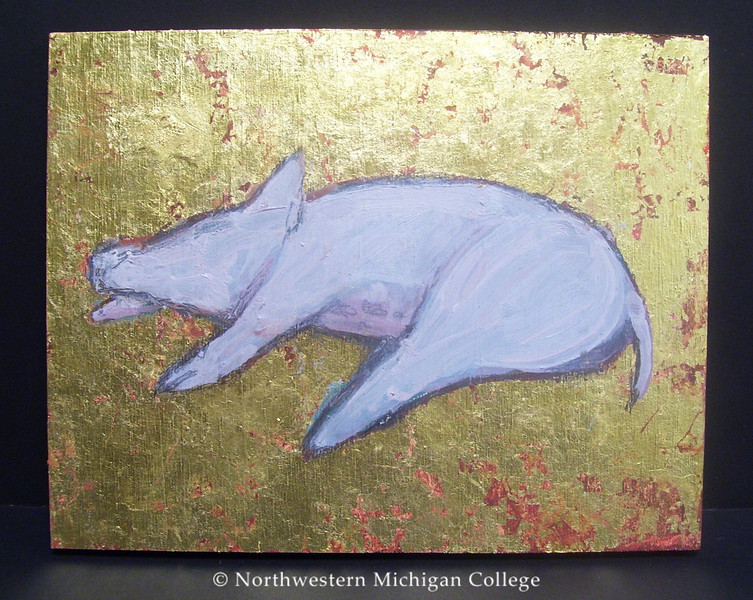 Trieff, Selina <br /> Reclining Pig     2005<br /> Oil on board<br /> Gift of the artist<br /> 2005.016.003