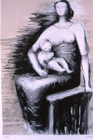 Moore, Henry <br /> Seated Mother and Child     nd<br /> Lithograph<br /> Gift of Michael and Barbara Dennos<br /> 1991.010.007