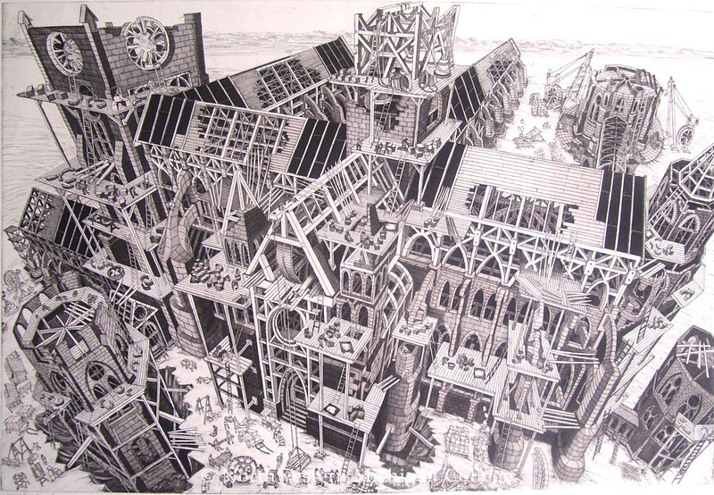 McCombs, Bruce <br /> Cathedral     1989<br /> Etching   50/200<br /> Museum Purchase 1996/97<br /> 1997.003.001