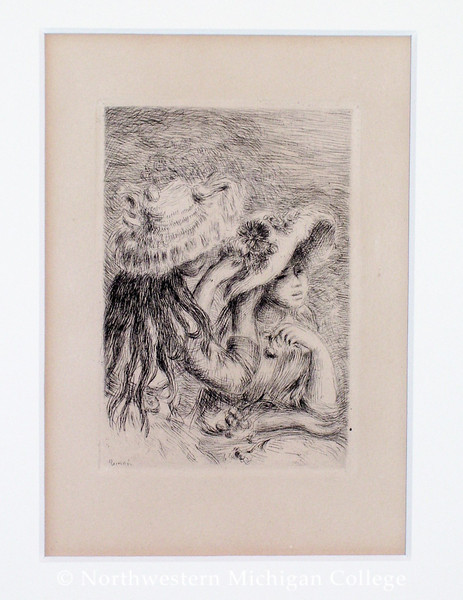 Renoir, Pierre Auguste <br /> Le Chapeau Épinglé (The Pinned Hat)     nd<br /> Drypoint and etching<br /> Gift of Robert Jorgensen<br /> 1991.008.019