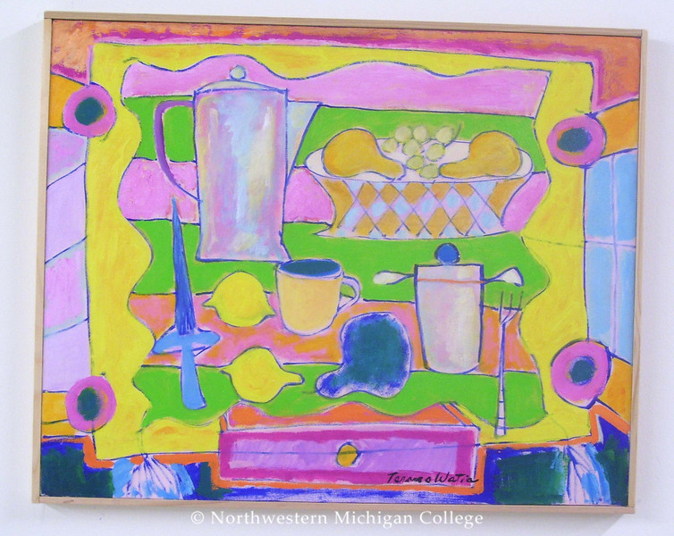 Watia, Tarmo <br /> Finnish Pot on Yellow     nd<br /> Oil on canvas<br /> Gift of the artist<br /> 2006.011.002