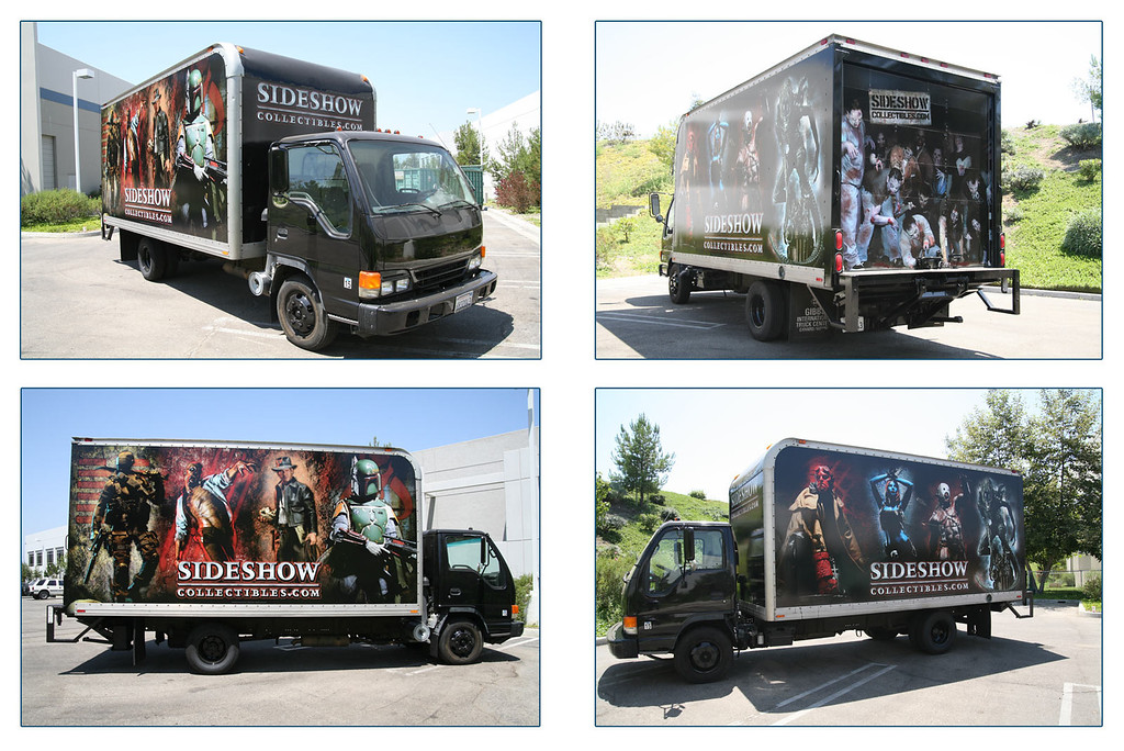 Promotional | Vehicle wrap for company delivery truck showcasing marquis product as well as Creative Staff as zombies on roll up door