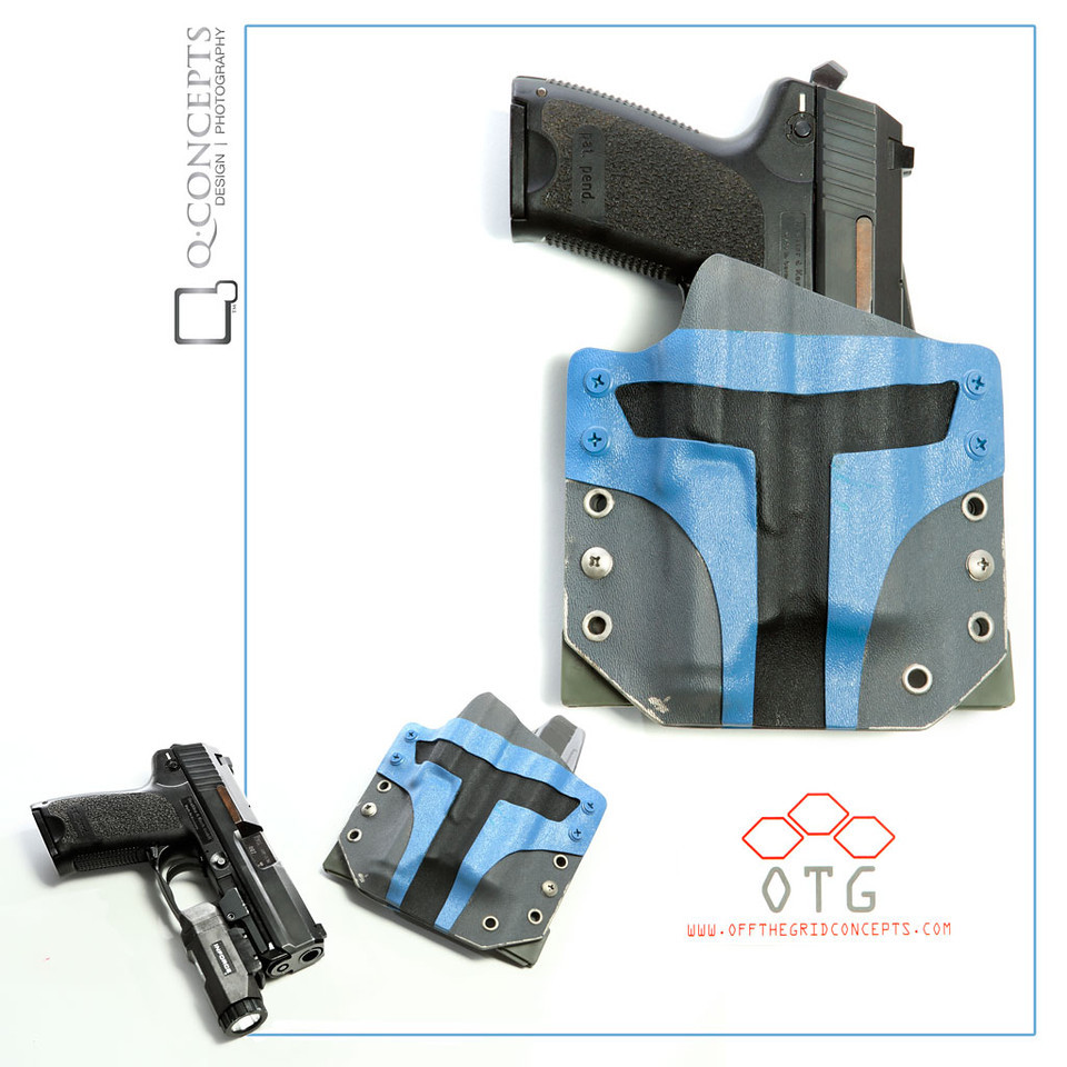 We worked with Off The Grid Concepts to create a Star Wars Mandalorian themed holster which we painted with Jango Fett inspired colors.