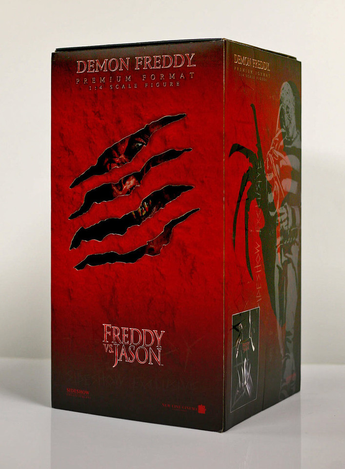 Packaging | Demon Freddy<br /> <br /> A Nightmare on Elm Street 'Premium Format Figure' of Demon Freddy from the movie 'Freddy vs Jason.' Slipcase packaging included die-cut slashes revealing Freddy, matte finish, with Spot UV image of full figure.