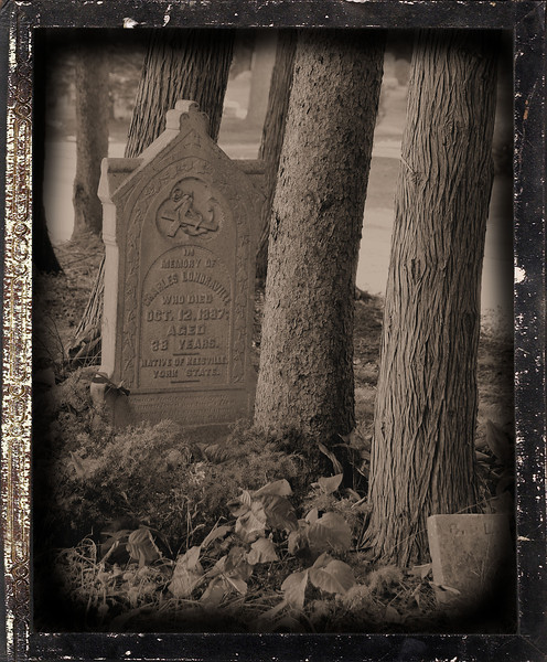 I found this grave overlooking Lake Huron in St. Ignace, Michigan. I was bemused by the trees growing right over where the coffin would lay. I converted it to a daguerreotype trying to capture the proper feeling for a grave dated 1887.