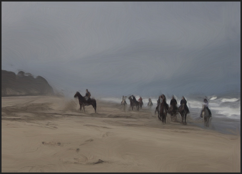 "A ""Misty Morning Ride"" on the beach in Half Moon Bay, Ca."