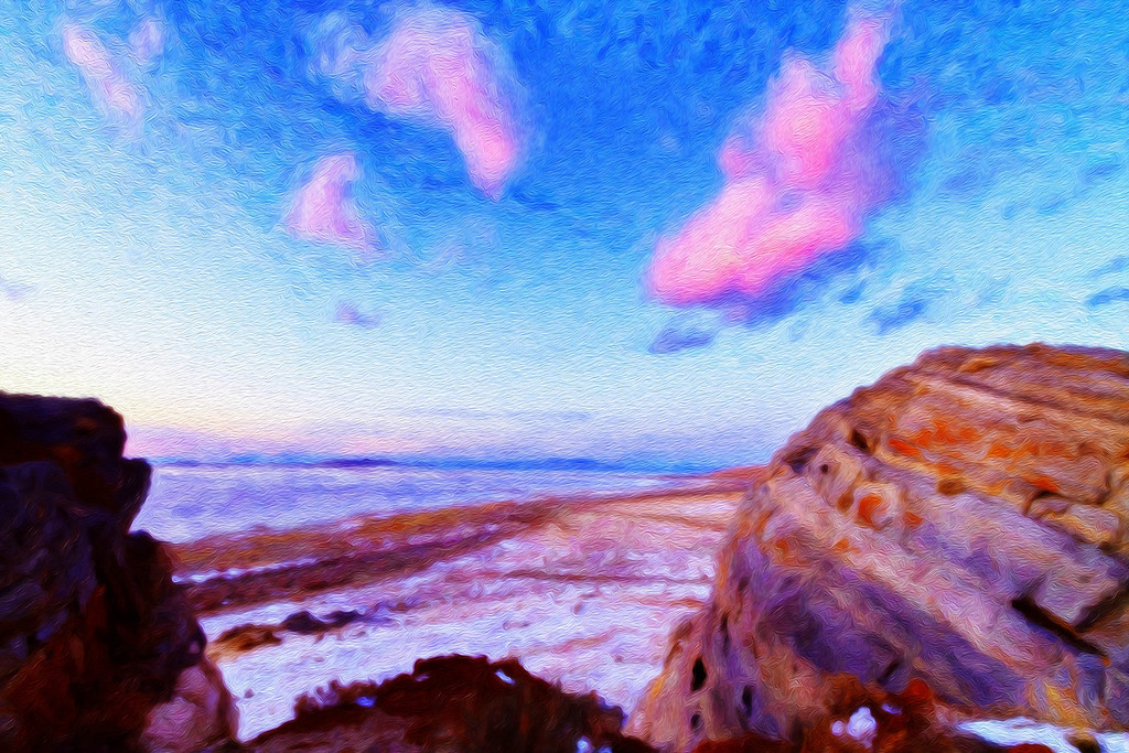 cottoncandy sky and the big rock at Stansbury island, Digital art.