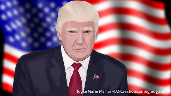 Digital painting of Trump and flag