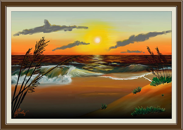 This is a from scratch, from my imagination painting using Painter IX.5. I used artist oils brushes to do the painting. It's my first painting to do completely from scratch using this program. The frame and mat were done using PSCS2.