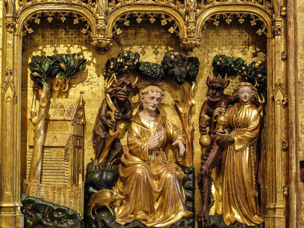 Dijon Beaux Arts Museum - Altarpiece of Saints and Martyrs (1390s) - The Temptation of Saint Anthony