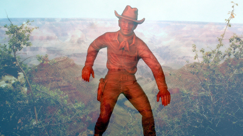 My Marx Cowboy Visits The Grand Canyon.  Remove this sticker after device has successfuly camoflagued.