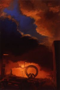 "Avenida San Antonio, Mexico D.F., ( view from before the free way was built ) oil on canvas, 60""x42"""