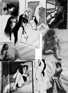 Female Nude Studies, ink or charcoal, varied sizes