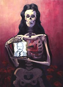 "La Muerte Consumio´ a mi Padre / Death Having Consumed My Father, mixed media oil on cancas,  20"" x 28"" On display for the Day of the Dead Exhibit at SOMA Arts Gallery Oct-Nov 2004"