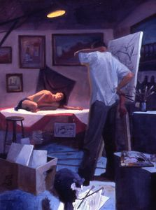 "El Artista y Su Modelo / The Artist ans his Model, oil on canvas, 18""x24"""