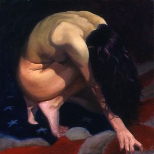 "Female Nude over U.S. Flag #3, oil on canvas, 36""x36"""