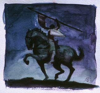 """Un Known Warrior, watercolor, 8""""x8"""""""