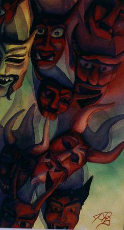 """Los Demonios # 1, watercolor, 14""""x 8"""""""