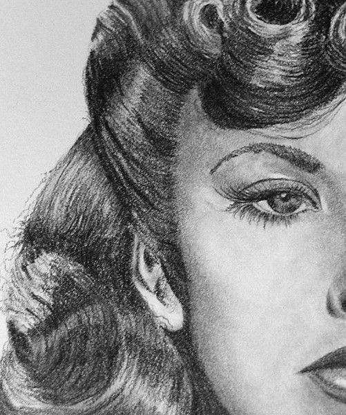 Actress/Director Ida Lupino: 6B graphite pencil on 11X14 Strathmore 500 Bristol Vellum paper (detail view).
