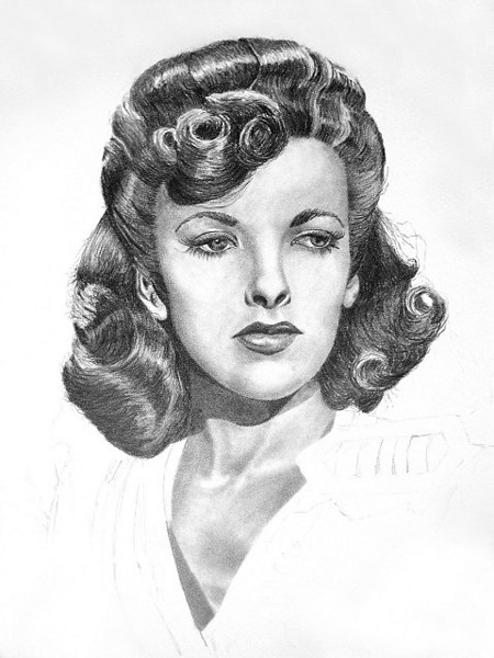 Actress/Director Ida Lupino: 6B graphite pencil on 11X14 Strathmore 500 Bristol Vellum paper.<br /> <br /> This was my second pencil portrait drawing and a few lessons learned from the first portrait drawing were incorporated into this one, including stronger values, smoother skin tones, and more refined hair curls and lighting.