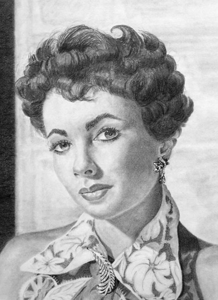 Actress Elizabeth Taylor: 2B and 6B graphite pencil on 11X14 Strathmore 400 Bristol Vellum paper.  <br /> <br /> My first pencil portrait.  I worked from a photo obtained from a book filled with classic movie actors and actresses as part of an assignment in an introductory drawing course at a community college in California.  This drawing marked my first use of a blending stump and a super-fine chiseled eraser.