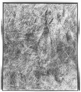 "©John Rachell  Title: Surface Image Image Size: 46""w X 54""d Dated: 1976 Medium & Support: Charcoal on Cotton Canvas Signed: LLC Signature Exhibitions: 1977 N.A.M.E. Gallery, Chicago, Il. 1977 Fullbright Competition Exhibition, United Nations Plaza, New York, N.Y."