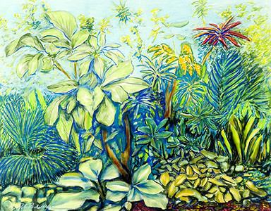 "©John Rachell Title:Garden Series, March 24, 2005 Image Size: 23""d X 29""w Dated: 2005 Medium & Support: Pastels on Strathmore 2-ply paper Signed: LL Signature"