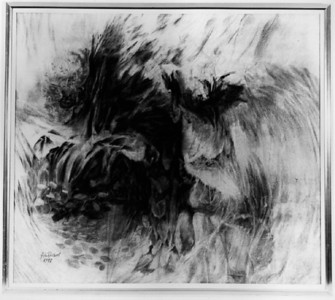"©John Rachell  Title: Untitled; Fantascape Image Size: 42""w X 37.5""d Dated: 1977 Medium & Support: Charcoal on cotton canvas Signed: LL Signature"