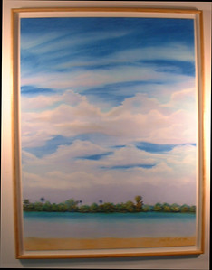 "©John Rachell Title: View Looking West from Palm Beach Image Size: 30""w X 40""d Dated: 1993 Medium & Support: Pastels on Artboard Signed: LR Signature Exhibited: Bruce Webber Gallery, 1994"