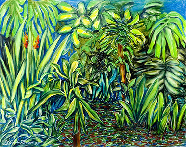 "©John Rachell Title:Garden Series, March 22, 2005 Image Size: 23""d X 29""w Dated: 2005 Medium & Support: Pastels on Strathmore 2-ply paper Signed: LL Signature"