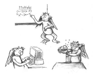Math and Science Gargoyles, pencil