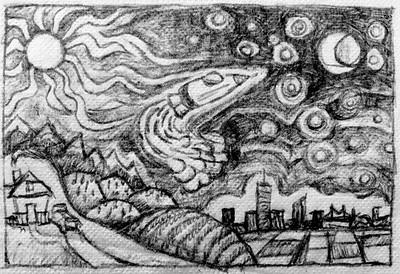 Concept sketch for mural. Pen on napkin.