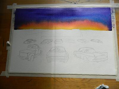 Fantasy Drive-In, watercolor, in progress, 15x22, aug 8, 2012  DSCN1384
