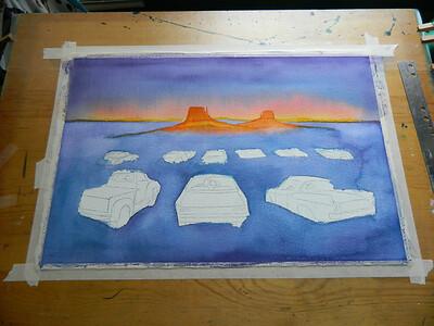 Fantasy Drive-In, watercolor, in progress, 15x22, aug 9, 2012  DSCN1386