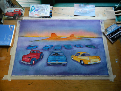 Fantasy Drive-In, watercolor, in progress, 15x22, aug 12, 2012  DSCN1399