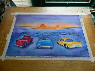 Fantasy Drive-In, watercolor, in progress, 15x22, aug 9, 2012  DSCN1389