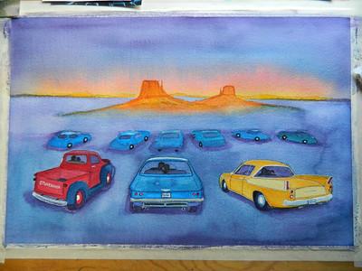 Fantasy Drive-In, watercolor, in progress, 15x22, aug 12, 2012  DSCN1400