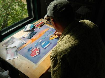 Fantasy Drive-In, watercolor, in progress, 15x22, aug 9, 2012  DSCN1387