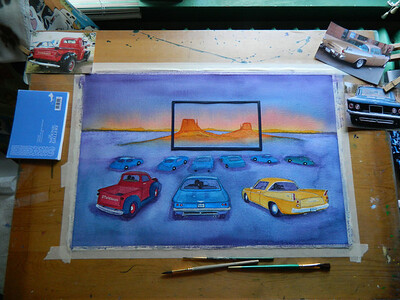 Fantasy Drive-In, watercolor, in progress, 15x22, aug 13, 2012  DSCN1401