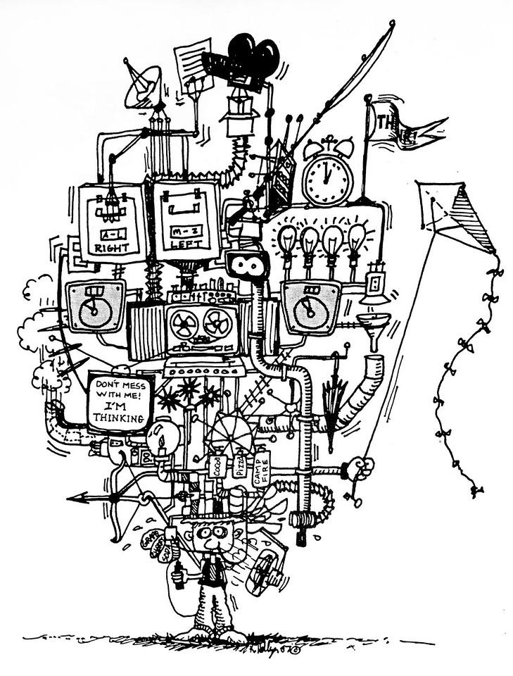 Thinking Cap, photocopy of pen drawing