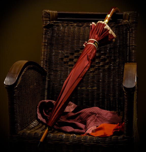 Umbrella on armchair